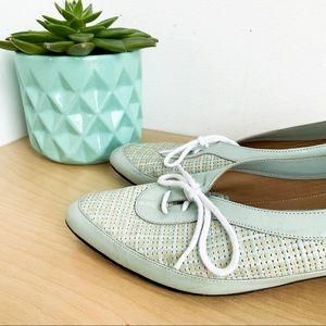 VINTAGE Leather Robin Egg Blue Woven Loafers | 8